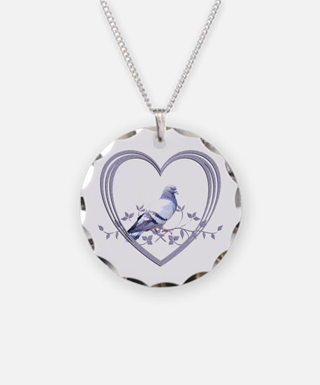Pigeon in Heart Necklace