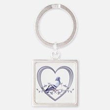 Pigeon in Heart Square Keychain
