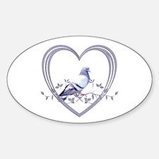 Pigeon in Heart Sticker (Oval)