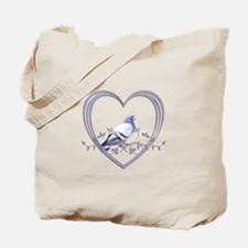 Pigeon in Heart Tote Bag