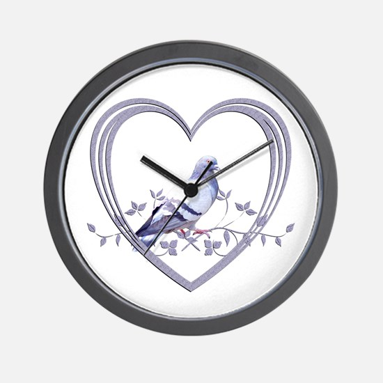 Pigeon in Heart Wall Clock