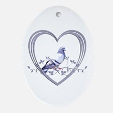 Pigeon in Heart Oval Ornament