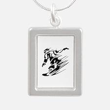 SNOWBOARDING! Silver Portrait Necklace