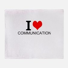 I Love Communications Throw Blanket