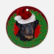 Christmas Rottweiler Round Ornament