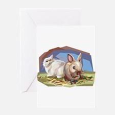 Brown & White Bunnies Greeting Card