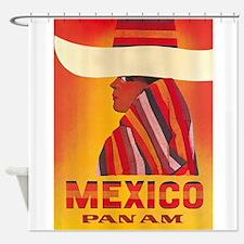 Vintage Mexico Travel Vintage Poster Shower Curtai
