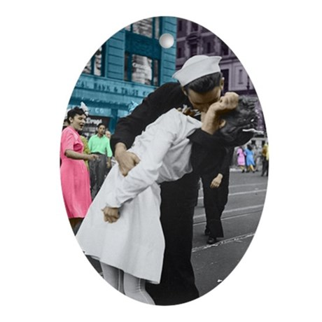 The WWII Kiss Oval Ornament