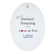 Sheltie Lick Oval Ornament
