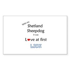 Sheltie Lick Rectangle Decal