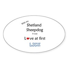 Sheltie Lick Oval Decal