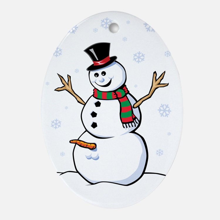 Naughty Snowman Ornament (Oval)