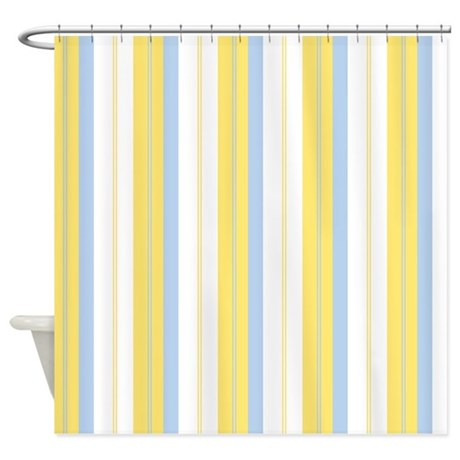 Yellow Blue Stripe Shower Curtain By Admin CP17259998