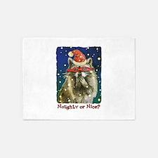 Naughty or Nice Raccoon 5'x7'Area Rug