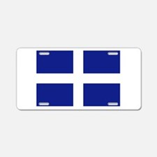 White Cross Blue Background Aluminum License Plate