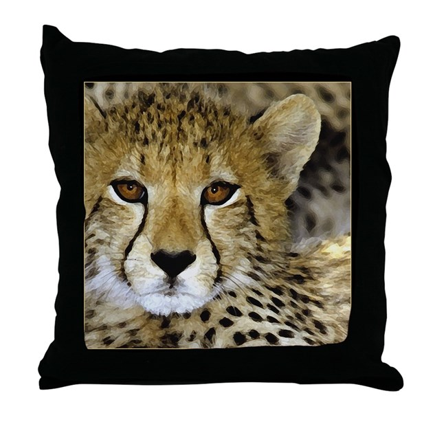Cheetah Face Throw Pillow by shelflifeshop
