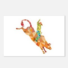 Rodeo Cowboy Bull Riding Low Polygon Postcards (Pa