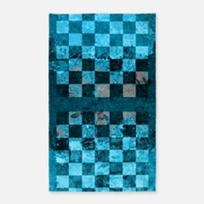 Checkerboard Turquoise Gray Area Rug