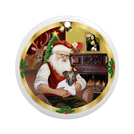 Santa's Fox Terrier Puppy Ornament (Round)