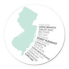 NJ SHORE Round Car Magnet