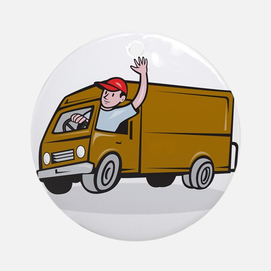 Delivery Man Waving Driving Van Cartoon Round Orna