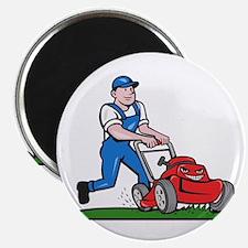 Gardener Mowing Lawn Mower Cartoon Magnets