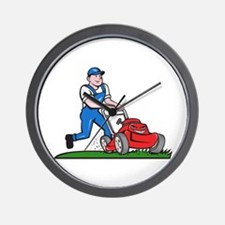 Gardener Mowing Lawn Mower Cartoon Wall Clock
