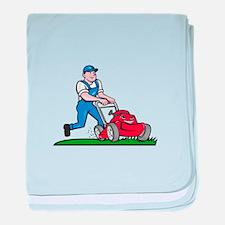 Gardener Mowing Lawn Mower Cartoon baby blanket