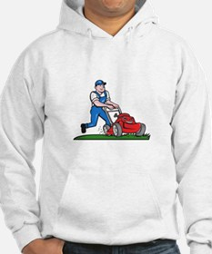 Gardener Mowing Lawn Mower Cartoon Hoodie