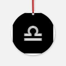 Silver Libra Symbol Round Ornament