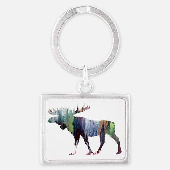Unique Moose for women Landscape Keychain