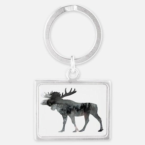 Cute Moose for women Landscape Keychain