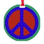 Glowing Peace Sign Round Ornament