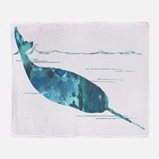 Funny Whales Throw Blanket