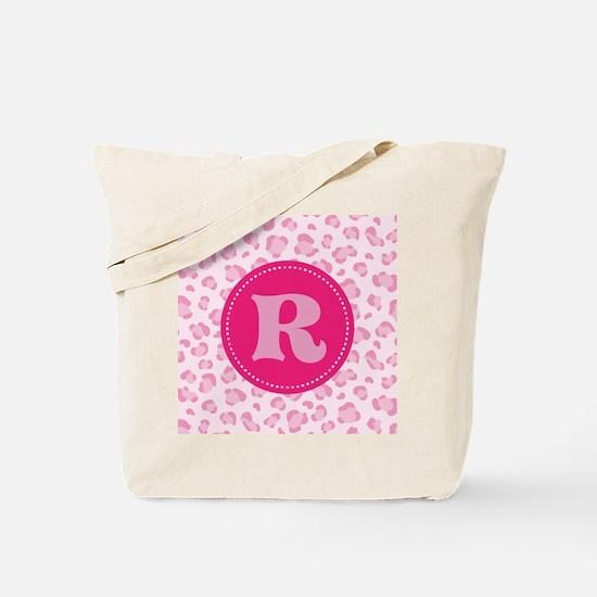 Pink Camo Monogram Initial R Tote Bag
