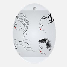 Cute Hairdresser Oval Ornament