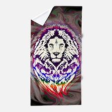 Lion Psychedelic Pop Art Beach Towel
