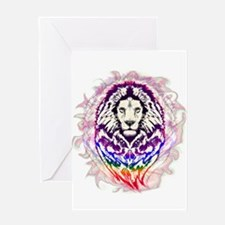 Lion Psychedelic Pop Art Greeting Cards