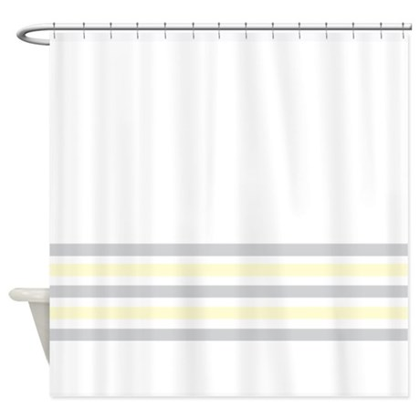 Gray And Yellow Bottom Stripe Shower Curtain By Admin