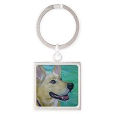 Cute Canine Square Keychain