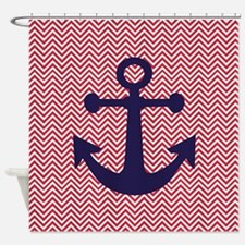NAVY ANCHOR ON RED CHEVRON Shower Curtain