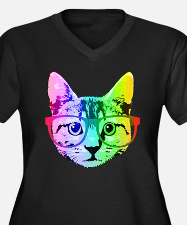 Funny Rainbow Cat Plus Size T-Shirt