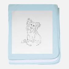 """Playful Papillion"" dog baby blanket"