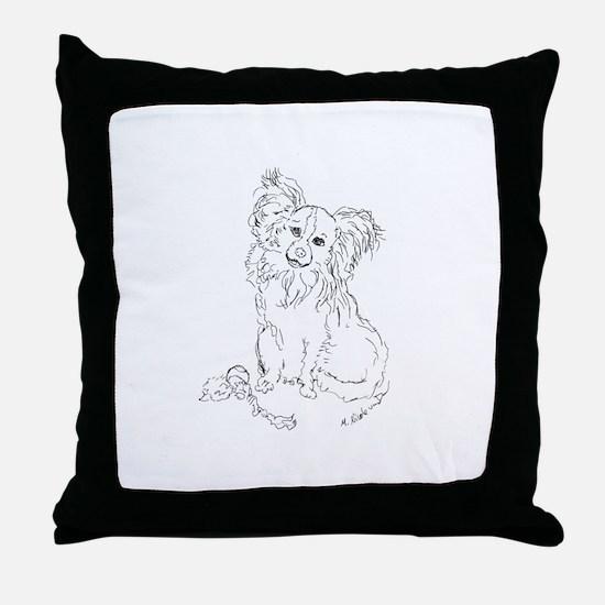 """""""Playful Papillion"""" dog Throw Pillow"""