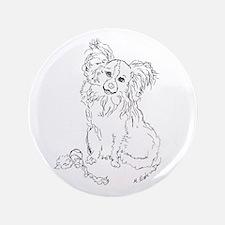 """Playful Papillion"" dog 3.5"" Button"