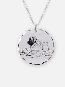 """Leonberger Dog Reading"" Necklace"
