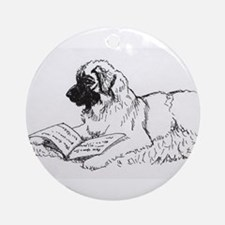 """Leonberger Dog Reading"" Ornament (Round)"