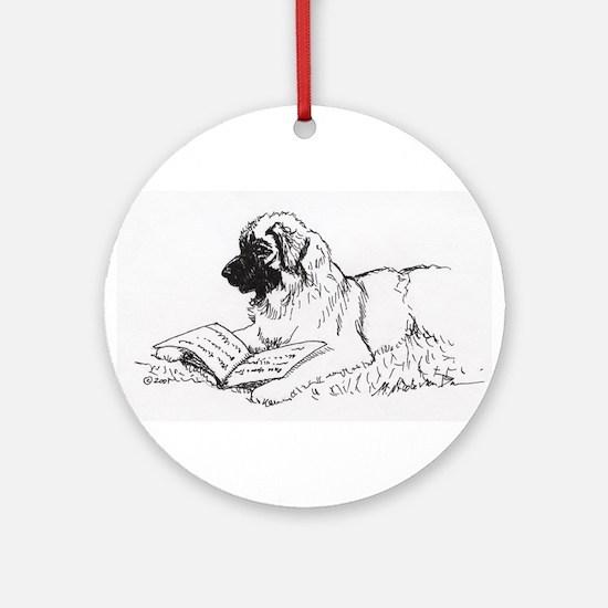"""Leonberger Dog Reading"" Ornament (Round)"