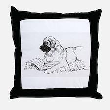 """Leonberger Dog Reading"" Throw Pillow"