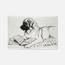 """Leonberger Dog Reading"" Rectangle Magnet"
